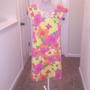 Lilly Pulitzer Floral Dress with White Beading